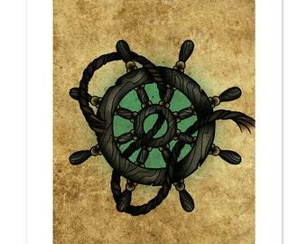Ships Wheel, Neo-Traditional Tattoo Flash, Art Print 12x16