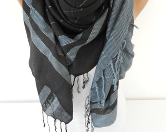 Mothers Day Gift For Her Tassel Scarf Mom Cowl Scarf Fall Winter Fashion Black Gray Scarf Shawl Women Fashion Accessories   MiracleShine