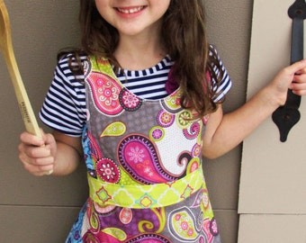 Girl's Frilly Apron Chef's Hat Pink, Citron Gray Paisley