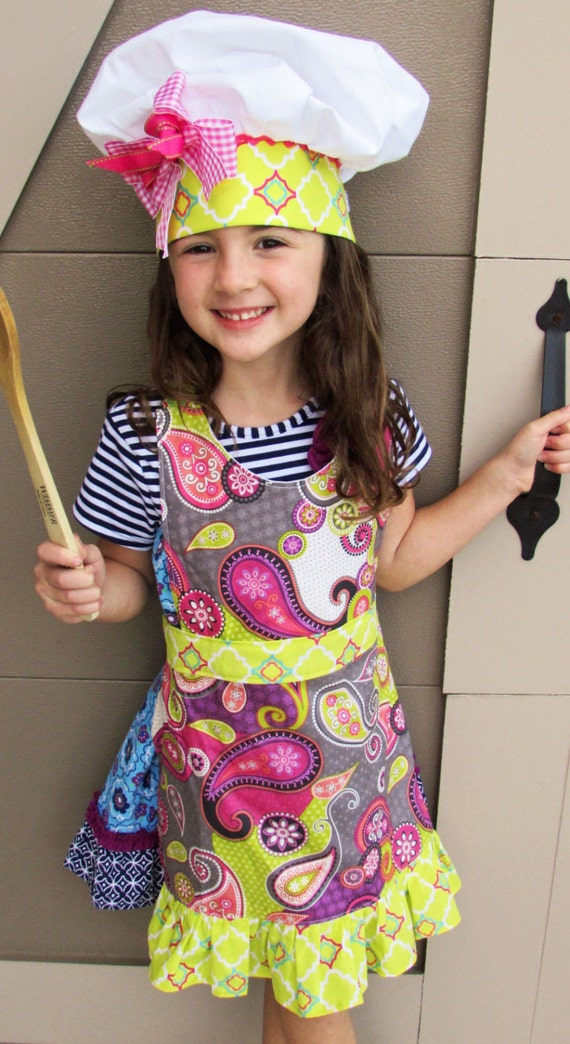 Girl's Frilly Apron Chef's Hat Pink Citron Gray