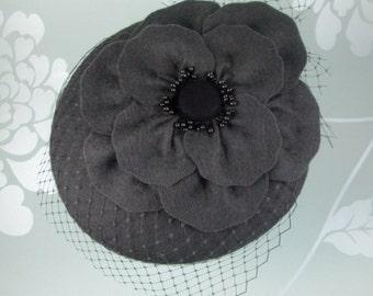 SALE Grey Fascinator Hat - Grey Fascinator, Felt Fascinator, Wedding Hats and Fascinators, Womens Hat, Millinery, Cocktail Hat