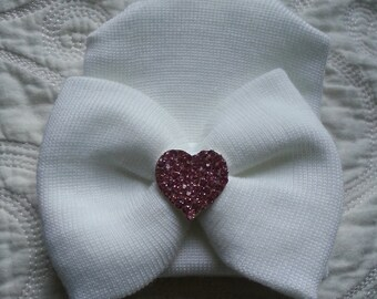 White Hospital Newborn Beanie with matching Bow and added Sparkle!  Newborn Hat, Baby Girl Hospital Hat, Pink Heart Rhinestone