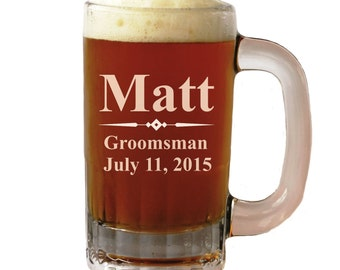 Personalized Beer Mug - Groomsmen gift, Father's Day Gift, Wedding party gift - Engraved - Customized - Monogrammed for Free