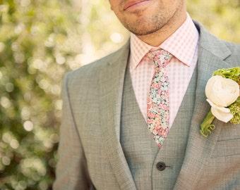 Blush pink tie, coral pink men's tie, blush men's tie, Liberty of London print tie, pink Liberty tie, pink groomsmen tie, pink skinny tie