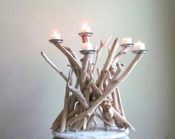 Driftwood Candelabra 6 Candle, Driftwood Candle Holder Centerpiece, Beach Decor, Driftwood Art, Driftwood Candle Holder, Wedding Centerpiece