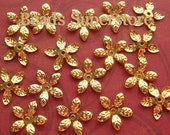 15 mm Gold-Plated Bendable Flower Bead Cap - Nickel Free and Lead Free - 50 pcs