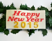 "Happy New Year Edible Cake Sign Fondant Topper, 2015 Eve Party Decor , Holiday ""Happy New Year"" Plaque, Gumpaste Cake Topper"