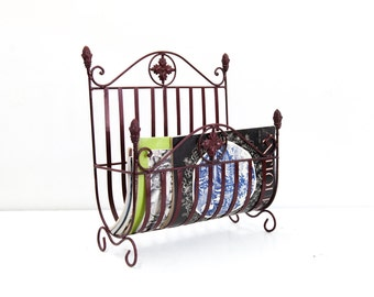Red Steel Magazine Rack