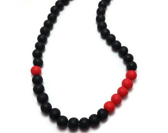 Red Black Necklace, Choker Necklace, Beaded Necklace, Handmade Beads, Minimalist Necklace, Clay Necklace, Womens Gift Idea, Unique Jewelry