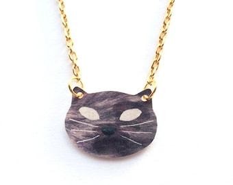 Grey Cat Necklace in gold or silver chain - kids - children - Valentine's day gift kitten birthday, mothers, girlfriends, friends