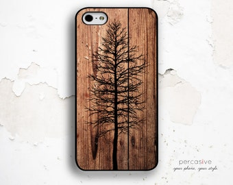Bare Tree iPhone 6 Case - iPhone 5c Case, iPhone 4 Case, iPhone 6 Plus Case Rustic Wood Print, Dark Wood iPhone 6 Case Tree :0452