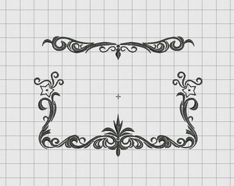 Floral Name Full Border Frame Embroidery Design in 4x4 5x5 and 6x6 Sizes