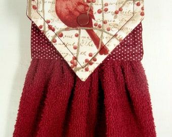 Cardinal Hanging Hand Towel, Cardinal Kitchen Towel, Handmade Holiday Hand Towel, Cardinals Decor, Burgundy Kitchen Decor, Christmas Gift
