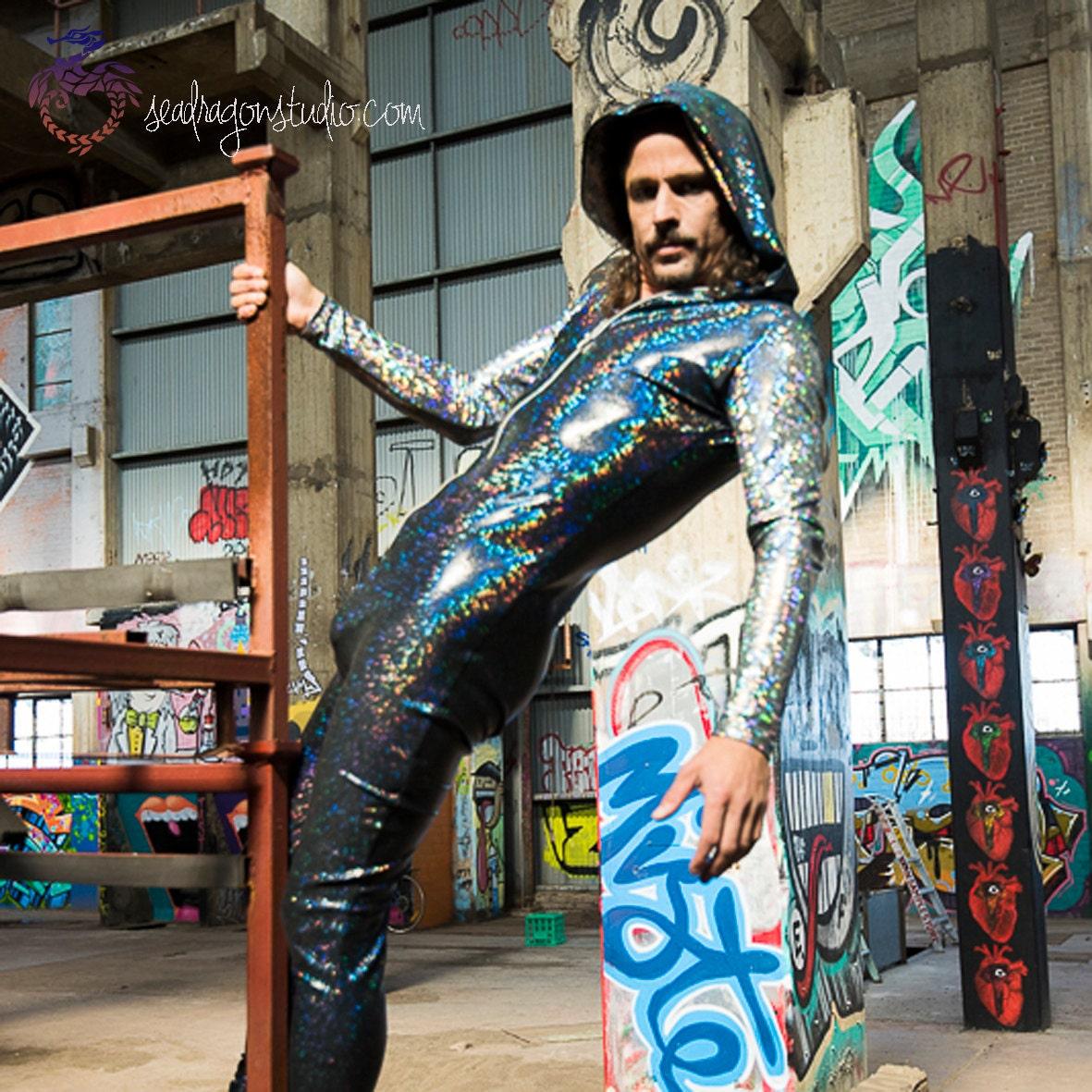 mens festival jumpsuit 12 holographic colors
