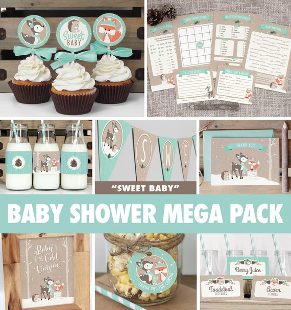 Winter woodland baby shower mega pack instant download for Baby shower decoration packs
