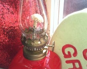 """1970s Oil Lamp Red Glass Inscribed """"Light My Fire"""" With Original Wick and Vintage Glass Chimney Sweetheart Gift Romantic Decoration"""