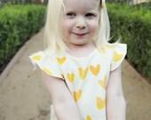 Yellow Heart Cream Ruffle Dress - Organic Baby/Toddler