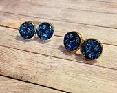 Druzy Stud Earrings in Galaxy, Frozen Earrings, Elsa Earrings, Mermaid Earrings, Druzy Jewelry, Blue Druzy Earrings, Druzy Post Earrings