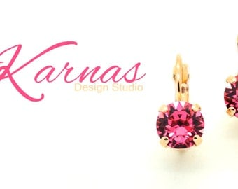 INDIAN PINK 8mm Crystal Chaton Drop Earrings Made With Swarovski Elements *Pick Your Finish *Karnas Design Studio *Free Shipping*
