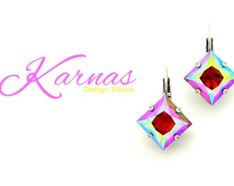 SWEET CHEEKS 12MM Crystal Fancy Square Earrings Made With Swarovski Elements *Pick Your Finish *Karnas Design Studio *Free Shipping*