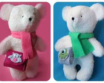 Teddy Bear Sewing PATTERN - with Bag/Satchel and Scarf