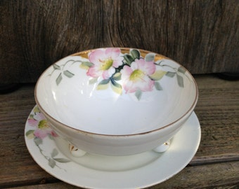 Vintage Hand Painted Footed Nippon Rice Bowl with Saucer