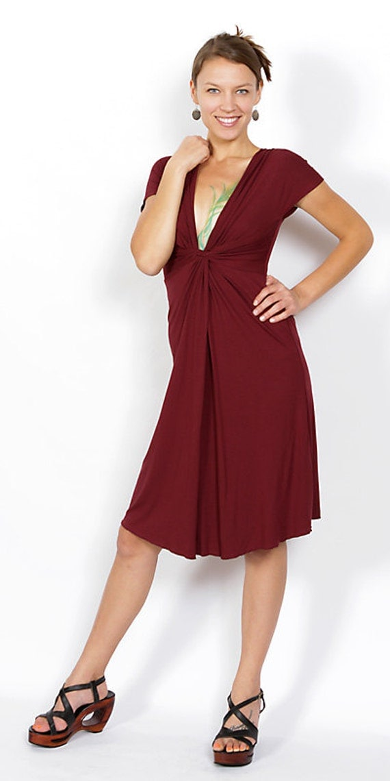 Burgundy Red V-Neck Sexy Time Dress