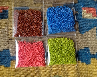Vintage Pre WW2 Czech Opaque Size 12 Seed Beads - Warm Brown, Blue, Coral or Chartreuse - 10 Grams