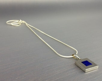 Modern design Lapis Lazuli and Sterling silver pendant.Gift for Men/Man jewelry/Mens Accessory/Jewelry For Men/Masculine jewelry.