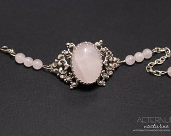 Rose quartz Gothic Bracelet - silver plated filigree with rose quartz cabochon and beads - Victorian Gothic Jewelry