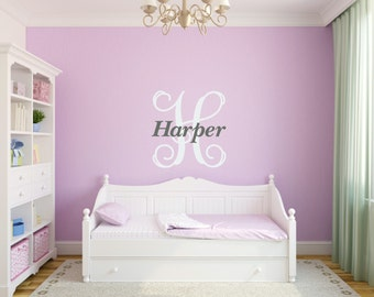 Personalized Girl Vine Monogram Wall Decal Name Initial Wall Vinyl Monogram Vinyl Decal Girl Name Decal Girl Bedroom Decal
