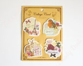60% Off SALE Die-Cut Message Note Cards Set - european collage style, eiffel tower, french, robin birds, rabbits, flowers, scrapbooking