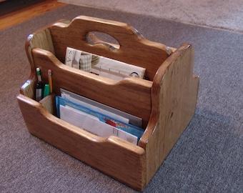 "Handcrafted 2 Sided Desktop Organizer, Wooden Mail Letter File Folder Desk Holder Magazine Rack, 12x15x12""high, Wood, Oak or Cordovan stain"