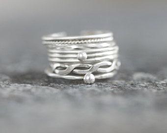 Boho silver stacking ring set of 5, ethnic, minimalist handmade jewelry
