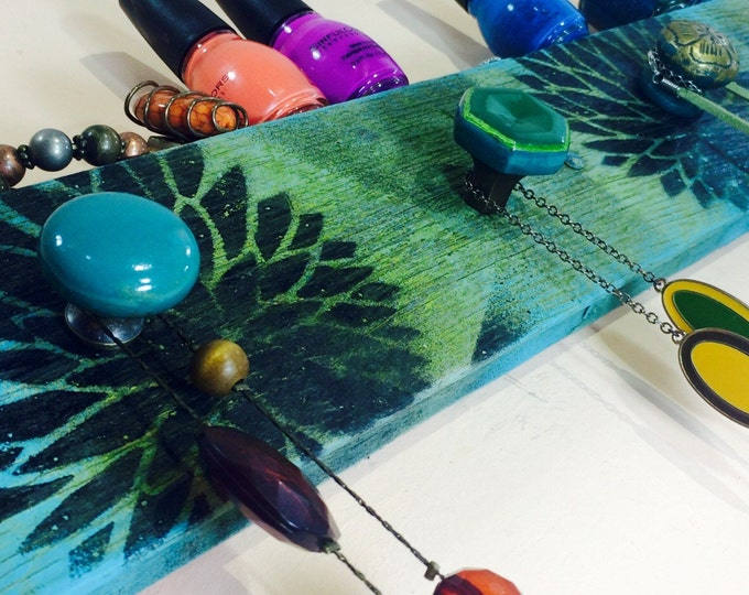 Made to order jewelry wall hanging storage pallet decor reclaimed wood necklace holder distressed lotus blue/green hues 5 hand-painted knobs