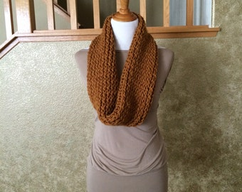 Honey Chunky Circle Scarf, Cowl
