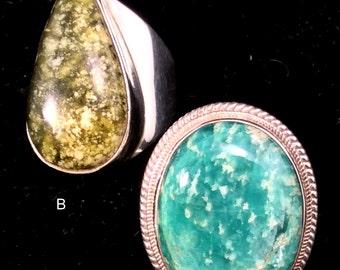 Size 9 Sterling Silver Ring. Green Russian Amazonite or Cheetah Jasper. free US ship 54.00 ea