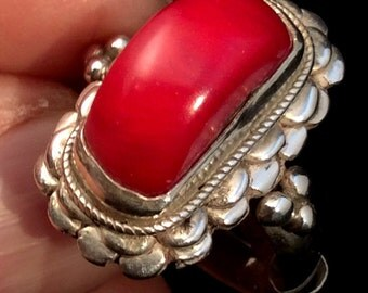 Size  8.5, 9 or 9.5 Tibetan Red Coral Ring. Sterling Silver Lotus. free US ship 40.00