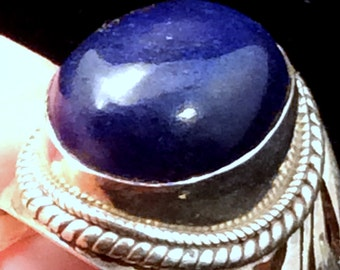 Size 8.5 Sterling Silver Ring. Blue Lapis free US ship