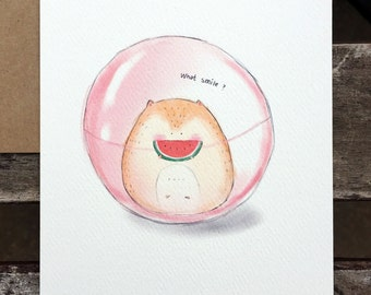 Watermelon. Mr Hammy. Motivational. Watercolour. Funny. friendship. Postcard. Art Print
