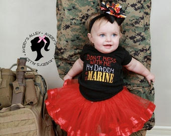 Don't mess with me My Daddy is a Marine- Girls Black Embroidered Shirt or Bodysuit & Matching Hair Bow Set