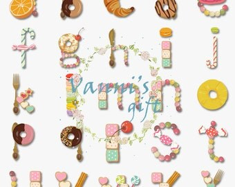 60 Dessert Letters Number Alphabet Digital Download Scrapbooking Clip Art a23