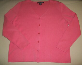 Vintage DESIGNERS ORIGINALS Soft Pink Cardigan Sweater size Petite Medium