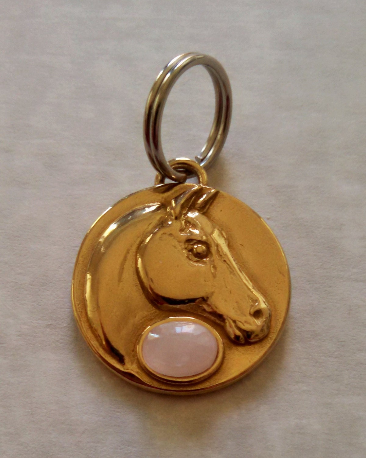 Horse bridle or halter tag bronze with rose by TygerPawsInc