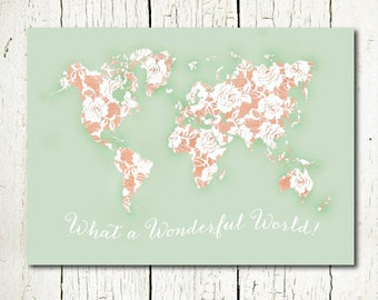 world map mint and peach nursery printable world map poster large, girls room decor floral shabby chic gift for her, travel quote download