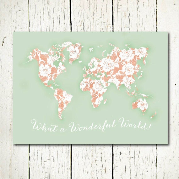 World map mint and peach nursery jpg pdf poster large girls te gusta este artculo gumiabroncs Choice Image