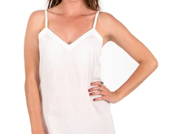 "Spirituelle ""Ami"" 100% Cotton Dress Slip - White Straight Cut XS - 3XL"