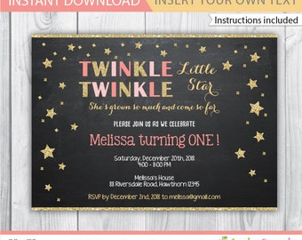 Twinkle Twinkle Little Star Birthday Invitation / twinkle twinkle invitation / twinkle star invitation / twinkle twinkle birthday / INSTANT