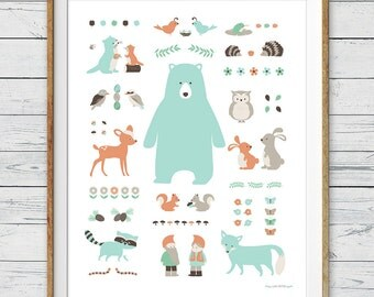 Woodland Nursery Art, Instant Download, 8x10, 11x14, 16x20, Woodland Animal Poster, Woodland Wall Art, Woodland Nursery Print, Woodland art