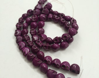 Purple Howlite - Skull beads- 12mm x 10mm - 32 beads - Full Strand